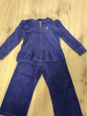 JUICY COUTURE Infants Blue Velour Tracksuit XS. Age 2-3 Years
