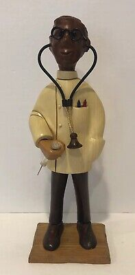 Vintage Romer Hand Carved Wooden Doctor Figure Made In Italy 12""