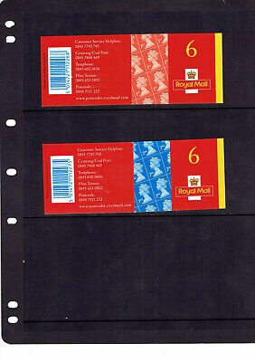 GB 1st x 6 br orange red  MB1  2nd x 6 blue MA1 self adhesives booklets