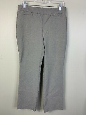 Van Heusen womens Pull On Trouser Pants Stretch Black Gray Size 10 work Casual