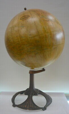 "Antique Rand McNally 12"" Terrestrial Globe on Cast Iron Stand World Globe"