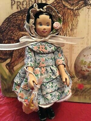 Antique Easter Hitty, Hand Carved Wood Doll by Vivian