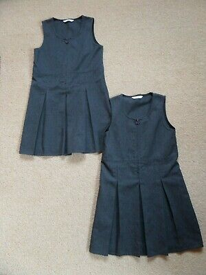 FABULOUS 2 x Girl's MARKS & SPENCER Uniform Dresses Age 7 Charcoal Grey VGC