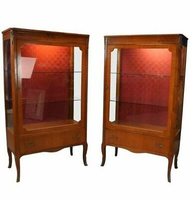 Pair Of Vintage Antique French Style Curio China Cabinets