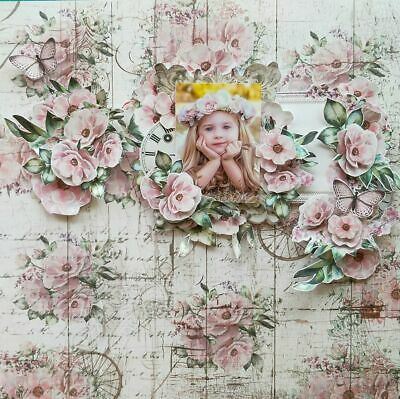 "Handmade Mixed Media 12"" x 12"" Scrapbook Page - Floral - no title"