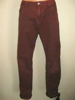 Worn Boys Burgundy Pigment Dyed Bench Skinny Flat Front Cotton Jeans Age 14-15