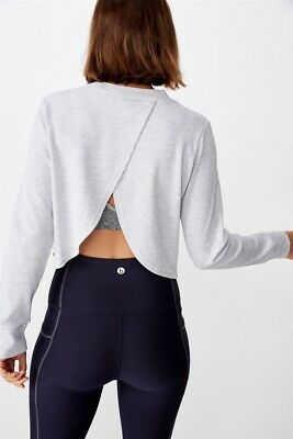 Cotton On Body Cross Back Waffle Long Sleeve Top  In  Grey Marle
