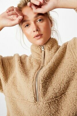 Cotton On Body Sherpa Zip Fleece Top  In  Tan