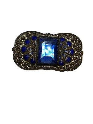 Vintage Art Deco Enamel Blue Faceted Glass Pin C Clasp