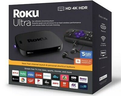 Roku Ultra 4670RW 4K Streaming Media Player Device with JBL Premium Headphones