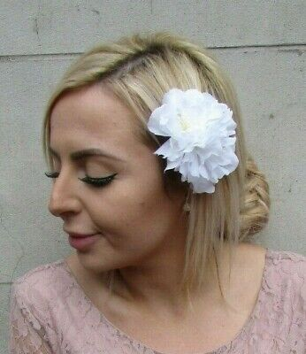 Double White Peony Flower Hair Clip Floral Rockabilly 1950s Fascinator Rose 0136