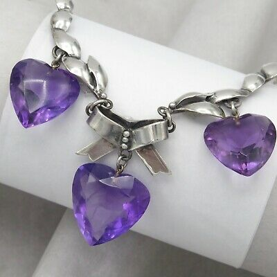 Vtg 1930's - 40's Art Deco Sterling Silver Siberian Amethyst Heart Bow Necklace