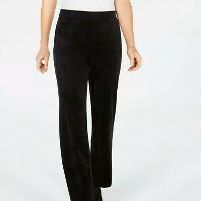 $46 Charter Club Womens Velour Black Pull On Pants Size M