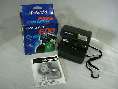 Exc. Condition Polaroid OneStep Instant 600 Film Camera. Box/Manual TESTED WORKS