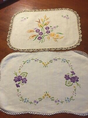 Two pretty vintage linen hand embroidered violets daisies Centrepiece Doilies ex