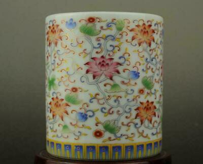 China old hand-made famille rose porcelain Hand painted flower brush pot b02