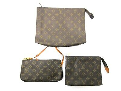 Authentic 3 Item Set LOUIS VUITTON Monogram Pouch PVC Leather 0301B