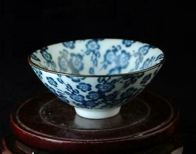 China Old Hand-made Blue And White Porcelain Hand Painted Plum Blossom Cup A02