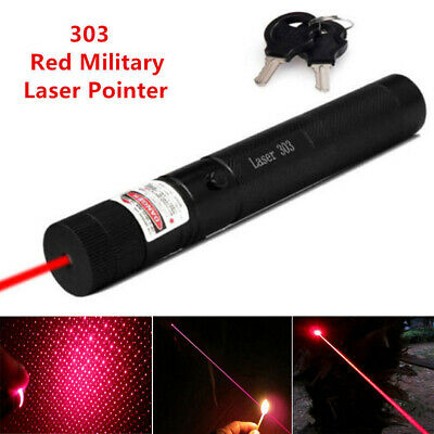 Black Military High Power 303 RED Laser Pointer Pen with 18650 Battery AU SHIP