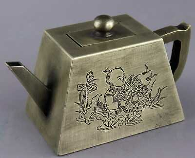 Collect Old Miao Silver Hand-Carved Fairchild Embrace Fish & Landscape Noble Pot