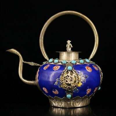 Collectable Old Miao Silver Armour Porcelain Carve Monkey & Dragon Noble Tea Pot