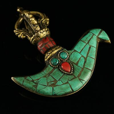 Collectable China Old Bronze Inlay Turquoise Hand-Carved Moral Exorcism Pendant