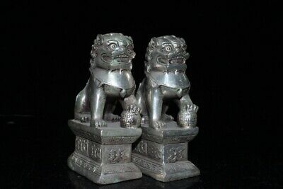 Collectable China Old Miao Silver Hand-Carved Myth Lion Auspicious A Pair Statue