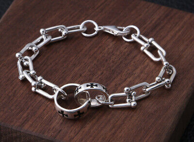 Collect Old S925 Sterling Silver Jewelry Fashion Cross Boy & Girl Decor Bracelet