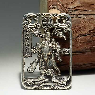 Collectable China Old Miao Silver Hand-Carved Guan Yu Delicate Decorate Pendant