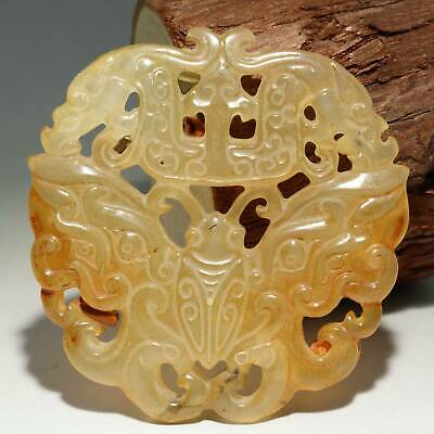Collectable China Old Jade Hand-Carved Butterfly Delicate Noble Decor Pendant