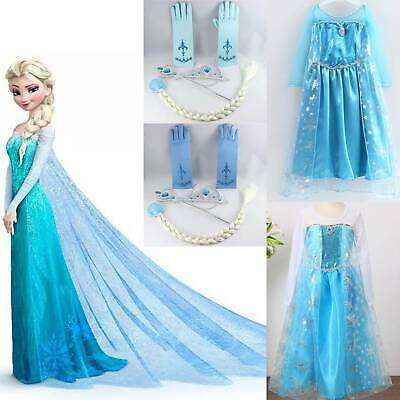 Kids Girl Party Fancy Dresses Elsa Dress Up Costume Princess Cosplay Long Sleeve