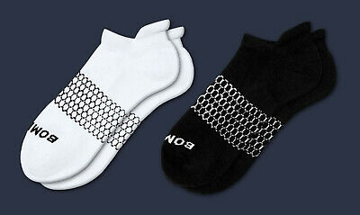2-Pack (White+Black) Bombas Men's Ankle Socks Honeycomb Large 7-12 NWT