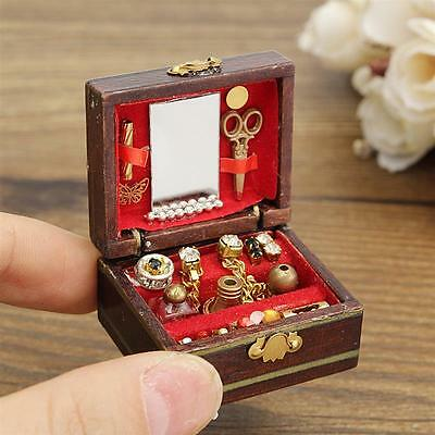 1/12 Mini Dollhouse Miniatures Wooden Jewelry Box Doll Room Decor Accessory Cute