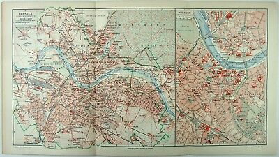 Original 1905 City Map of Dresden Germany by Meyers. Antique