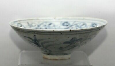 PRICE DROP!Genuine Antique Chinese Ming Dynasty Blue & White Porcelain Bowl RARE