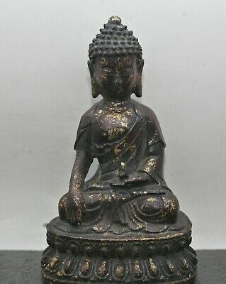 Superb Workmanship Antique Chinese Gilded Bronze Buddha Statue c1820s