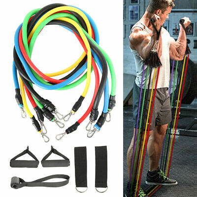 E Resistance Bands Heavy Workout Exercise Yoga 11Piece Set Crossfit Fitness Tube