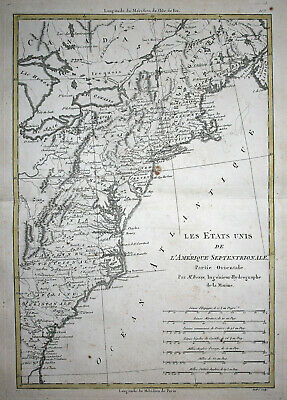 1780 North America USA United States East Coast map Rigobert Bonne Atlas