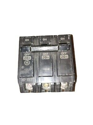 GE General Electric THQL32020 20A 20amp 3-Pole 240V Circuit Breaker THQL Snap In
