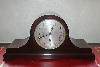 Impressive Antique Mahogany Napoleon Hat Westminster Mantle Clock 8Day Runs Well