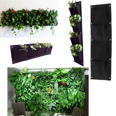 4 Pocket Planting Bag Wall Vertical Greening Hanging Garden Outdoor Plant