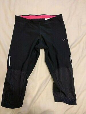 Nike womens dri-fit cropped leggings black size S Pink Band