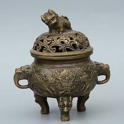 Collect China Antique Bronze Hand-Carved Lion & Kylin Auspicious Incense Burner