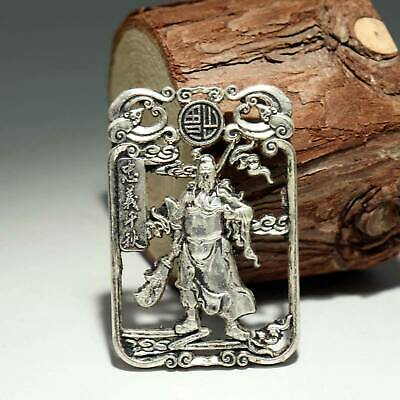 Collectable China Old Miao Silver Hand-Carved General Guan Yu Decorate Pendant