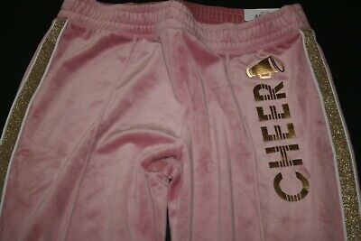 New Justice Girls 18 plus Pants Joggers Pink Velour Glitter Stripe Cheer