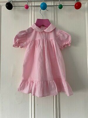 Vintage Baby Girls Mothercare Dress 12-18 Months Pale Pink Dotty