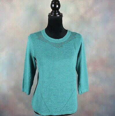 Christopher & Banks Women's Top Size Petite Large Turquoise Knit 3/4 Sleeve