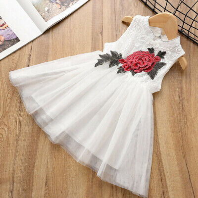 Toddler Baby Kids Girls Lace Rose Cheongsam Chinese Style Tulle Princess Dress