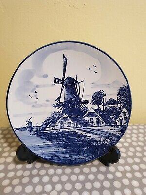 Small Delft Blue Wall Hanging Plate With Windmill Scene