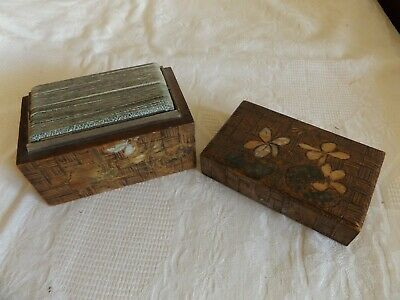 Antique Wooden Hand Carved Playing Card Box & Complete Pair Of Waddington Cards